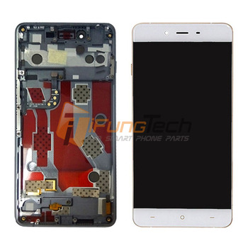 10 pz dhl libero per oneplus x display lcd con touch screen digitizer con cornice assemblea in bianco e nero