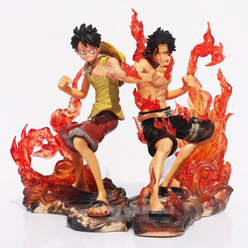 2 pz/lotto One Piece Anime Luffy & Ace Action Figure Toy, 15 cm PVC One Piece Figure Modello, giocattoli Per La Raccolta, Brinquedos