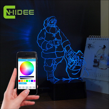3D Musica Lampara Decorazioni di Natale Babbo natale Led Night Lights Lampada Da Tavolo USB Speaker Bluetooth come Home Decor Partito Nightlight