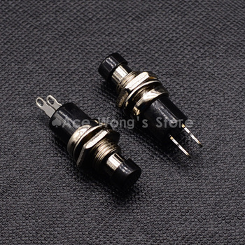 5 PZ 7mm Filo Nero 2 Pins Momentaneo Push Button Switch PBS-