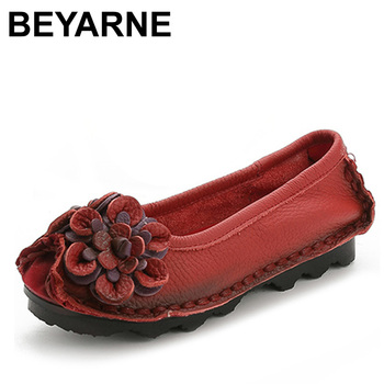 BEYARNE Original Handmade Autumn Women Genuine Leather Shoes Cowhide Loafers Real Skin Shoes Folk Style Ladies Flat Shoes For Mo