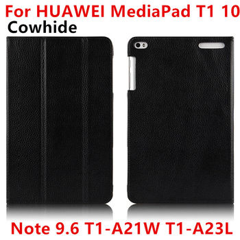 Case pelle bovina per huawei mediapad t1 10 smart cover cuoio genuino tablet protettiva per huawei note9.6 t1-a21w t1-a23lprotector