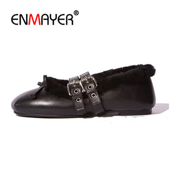 Enmayer pattini di cuoio genuini donna inverno appartamenti zapatos lujo mujer papillon charms double fibbia strp black pink nude piatto scarpe
