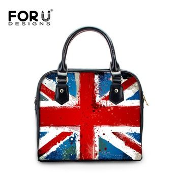 FOURDESIGNS Women's Leather Luxury Shell Handbags Fashion National Flag Print Ladies Shoulder & Crossbody Bags for Office Worker