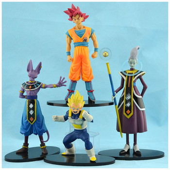 Giocattoli Action figure Dragon ball Battle of Gods Super Saiyan Dio Goku Vegeta Whis Beerus PVC Action giocattoli 4 pz