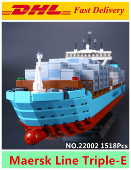 Lepin 22002 1518 Pz Serie Technic Il Maersk Cargo Nave Container Set Educational Building Blocks Mattoni Modello Giocattoli Regalo 10241
