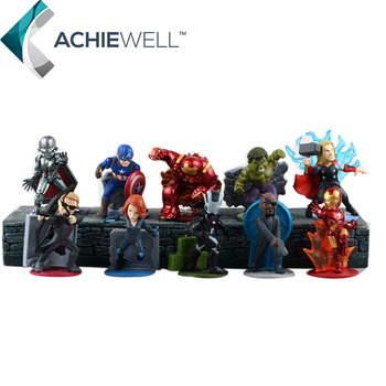 Marvel Avengers Capitan America Hulk Iron Man Hulk Black Widow Action Figure Fan Collecitble Modello Bambini Giocattoli 10 pezzi/set