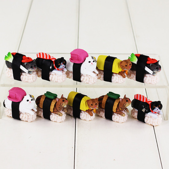 Neko zushi kitan club sushi cat shakefu wasabi pvc figure toy doll decorazione 10 pz/lotto
