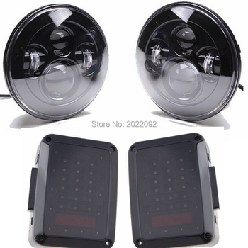 "Nero 2 pz 7 ""Round high low fascio Faro LED con 2 pz Affumicato Luci di Coda A LED per 2007-Wrangler"