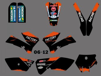 Nuovo 0394 orange & black team grafica e sfondi decalcomanie adesivi kit fit for ktm sx85 2006 2007 2008 2009 2010 2011 2012