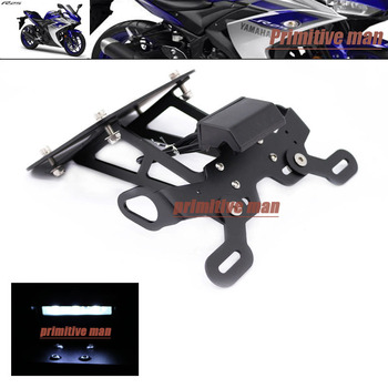 Per YAMAHA YZF R25 YZF-R25 YZF R3 YZF-R3-MT-25 MT-03 Motorcycle License Plate Holder + Licenza LED piatto Ha Condotto La Luce