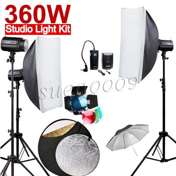 Più nuovo 120di 360ws godox 3*120 ws pro photography studio strobe flash light 360 w kit