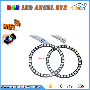 Una Coppia 5050 smd rgb Controllo WIFI LED Halo Anelli kit 2*100mm 105mm 115mm 120mm 125mm 140mm Led Angel Eyes di conversione kit
