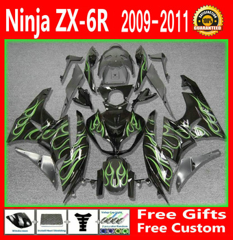 Verde fiamme Carena kit Per Kawasaki NINJA ZX6R 2009 2010 2011 09 10 11 (Personalizza free) Carenature g33