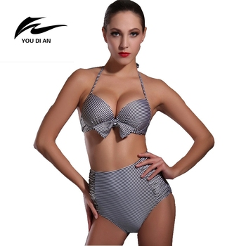 Youdian new vita alta bikini ferretto push up bikini bandage vita alta costume da bagno scontornabile swimwear halter striped costumi da bagno